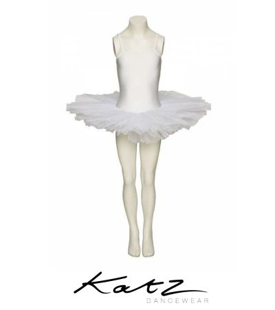 Tutu leotard with attached skirt Full skirt with 4 net layers Soft netting Lovely and comfortable Material: Nylon/Lycra Designed by Katz Dancewear