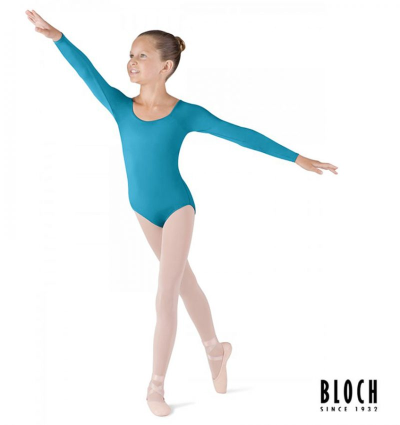 bloch-long-sleeve-leotard-for-children-cl5609-color-turquoise